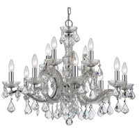Crystal 12 Light 30 inch Chrome Chandelier Ceiling Light