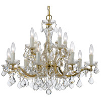 Crystal 12 Light 30 inch Gold Chandelier Ceiling Light