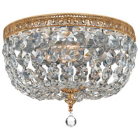 Crystal 2 Light 10 inch Brass Ceiling Mount Ceiling Light