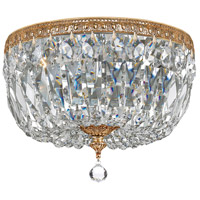 Crystal 3 Light 12 inch Brass Ceiling Mount Ceiling Light