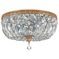 Crystal 3 Light 14 inch Brass Ceiling Mount Ceiling Light