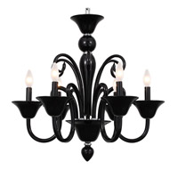 Modern 6 Light 24 inch Black Chandelier Ceiling Light
