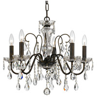 Crystal 5 Light 23 inch Bronze Chandelier Ceiling Light