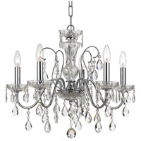 Crystal 5 Light 23 inch Chrome Chandelier Ceiling Light