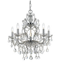 Crystal 6 Light 23 inch Chrome Chandelier Ceiling Light