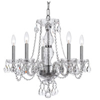 Crystal 5 Light 21 inch Chrome Chandelier Ceiling Light