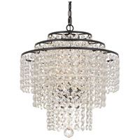 Crystal 3 Light 18 inch Bronze Chandelier Ceiling Light