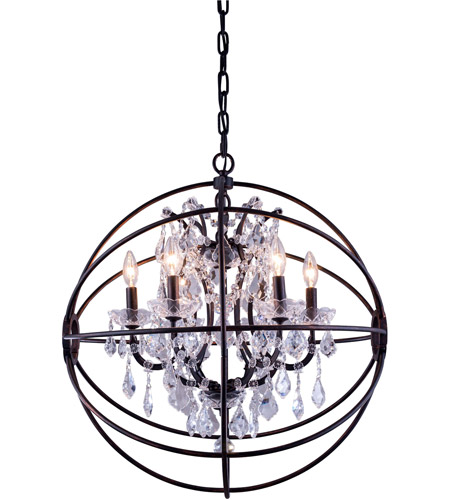 Elegant Lighting 1130D25DB/RC Geneva 6 Light 25 inch Dark Bronze Pendant Ceiling Light in Clear ...