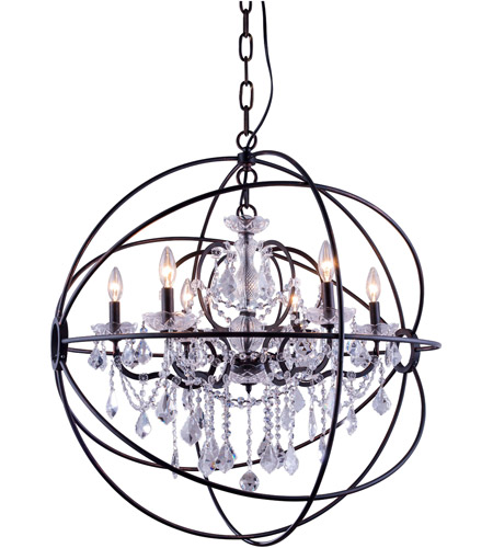 Elegant Lighting 1130D32DB RC Geneva 6 Light 32 Inch Dark Bronze Pendant Ceiling In Clear Urban Classic