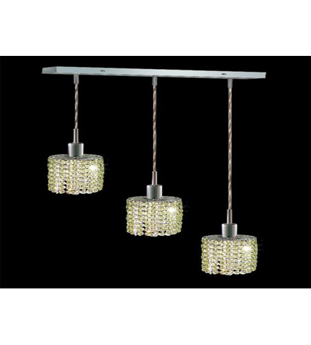 Elegant Lighting Mini 3 Light Pendant in Chrome with Swarovski Strass Light Peridot Crystal 1283D-O-E-LP/SS photo