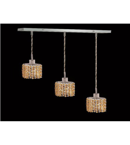 Elegant Lighting 1283D-O-E-LT/SS Mini 3 Light 15 inch Chrome Pendant Ceiling Light in Light Topaz, Swarovski Strass, Rectangle, Ellipse photo