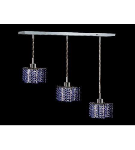 Elegant Lighting Mini 3 Light Pendant in Chrome with Royal Cut Sapphire Crystal 1283D-O-P-SA/RC photo