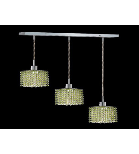 Elegant Lighting Mini 3 Light Pendant in Chrome with Royal Cut Light Peridot Crystal 1283D-O-S-LP/RC photo