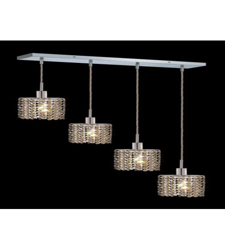 Elegant Lighting Mini 4 Light Pendant in Chrome with Royal Cut Golden Teak Crystal 1284D-O-E-GT/RC photo
