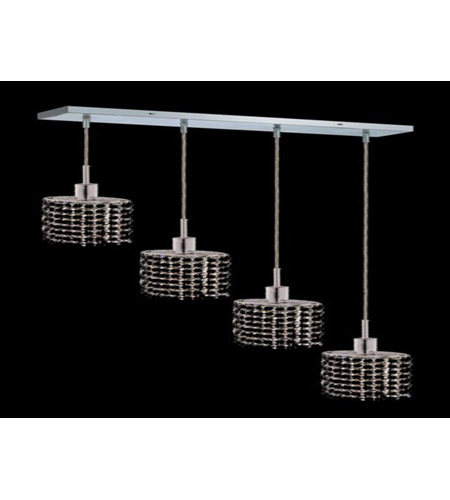 Elegant Lighting 1284D-O-E-JT/RC Mini 4 Light 26 inch Chrome Pendant Ceiling Light in Jet Black, Royal Cut, Rectangle, Ellipse photo