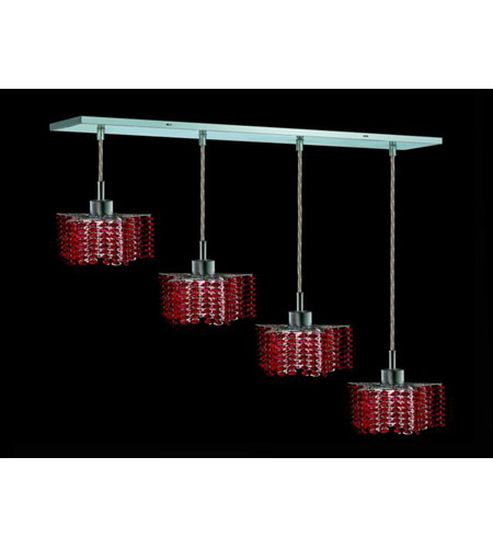 Elegant Lighting 1284D-O-P-BO/RC Mini 4 Light 26 inch Chrome Pendant Ceiling Light in Bordeaux, Royal Cut, Rectangle, Star photo