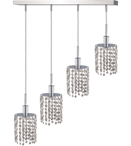 Elegant Lighting Mini 4 Light Pendant in Chrome with Royal Cut Clear Crystal 1284D-O-R-CL/RC photo