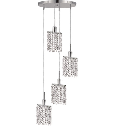 Elegant Lighting 1284D-R-E-CL/RC Mini 4 Light 10 inch Chrome Pendant Ceiling Light in Clear, Royal Cut, Round, Ellipse photo