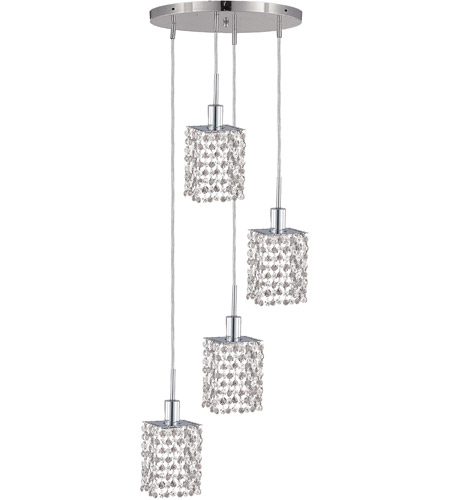 Elegant Lighting Mini 4 Light Pendant in Chrome with Royal Cut Clear Crystal 1284D-R-S-CL/RC photo