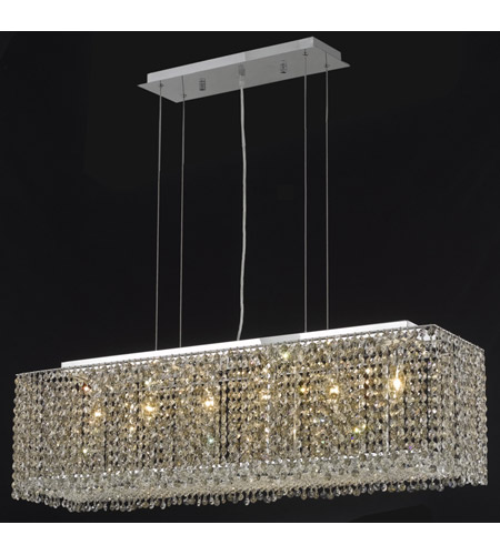 Elegant Lighting 1291D38C-GT/SS Moda 6 Light 10 inch Chrome Dining Chandelier Ceiling Light in Golden Teak, Swarovski Strass photo
