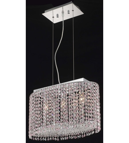 Elegant Lighting Moda 3 Light Dining Chandelier in Chrome with Royal Cut Rosaline Crystal 1292D18C-RO/RC photo