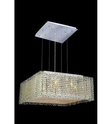 Elegant Lighting Moda 13 Light Dining Chandelier in Chrome with Royal Cut Light Peridot Crystal 1294D26C-LP/RC photo