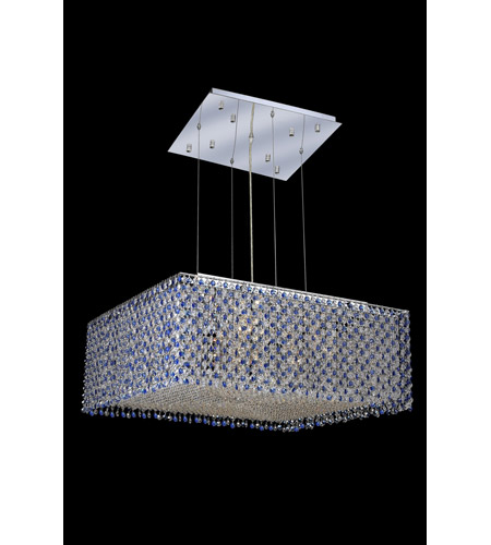 Elegant Lighting 1294D26C-SA/RC Moda 13 Light 26 inch Chrome Dining Chandelier Ceiling Light in Sapphire, Royal Cut photo