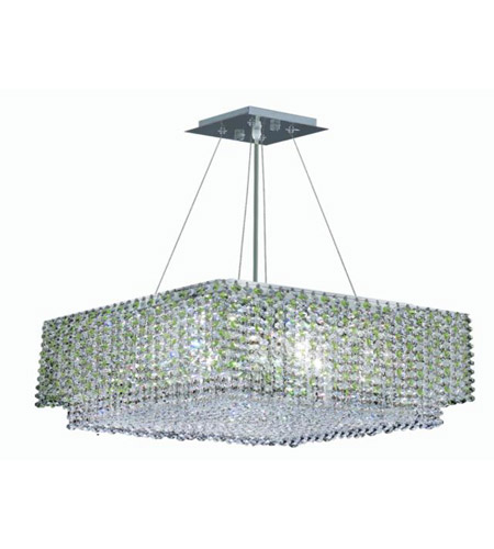 Elegant Lighting Moda 4 Light Dining Chandelier in Chrome with Royal Cut Light Peridot Crystal 1299D16C-LP/RC photo