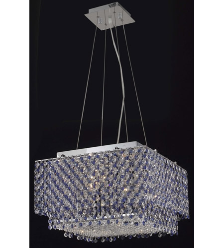 Elegant Lighting Moda 4 Light Dining Chandelier in Chrome with Royal Cut Sapphire Crystal 1299D16C-SA/RC photo