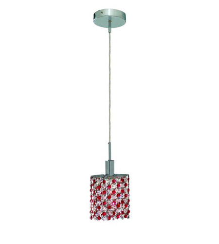 Elegant Lighting Mini 1 Light Pendant in Chrome with Royal Cut Bordeaux (Red) Crystals 1381D-R-E-BO/RC photo