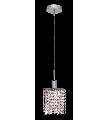 Elegant Lighting Mini 1 Light Pendant in Chrome with Royal Cut Rosaline (Pink) Crystals 1381D-R-E-RO/RC photo