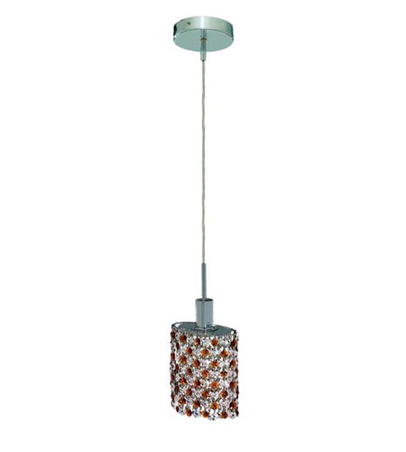 Elegant Lighting Mini 1 Light Pendant in Chrome with Royal Cut Topaz (Brown) Crystals 1381D-R-E-TO/RC photo
