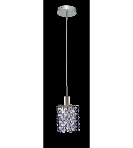 Elegant Lighting Mini 1 Light Pendant in Chrome with Royal Cut Sapphire (Blue) Crystals 1381D-R-P-SA/RC photo
