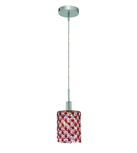 Elegant Lighting Mini 1 Light Pendant in Chrome with Royal Cut Bordeaux (Red) Crystals 1381D-R-R-BO/RC photo