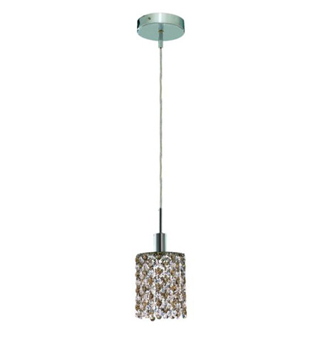 Elegant Lighting 1381D-R-R-GT/RC Mini 1 Light 5 inch Chrome Pendant Ceiling Light in Golden Teak, Royal Cut, Round photo