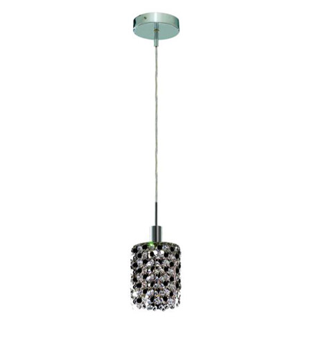 Elegant Lighting 1381D-R-R-JT/RC Mini 1 Light 5 inch Chrome Pendant Ceiling Light in Jet, Royal Cut, Round photo
