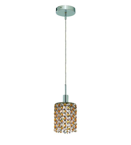 Elegant Lighting 1381D-R-R-LT/RC Mini 1 Light 5 inch Chrome Pendant Ceiling Light in Light Topaz, Royal Cut, Round photo