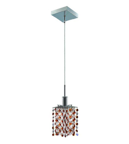 Elegant Lighting 1381D-S-P-TO/RC Mini 1 Light 5 inch Chrome Pendant Ceiling Light in Topaz, Royal Cut, Square, Star photo