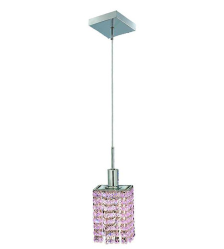 Elegant Lighting 1381D-S-S-RO/RC Mini 1 Light 5 inch Chrome Pendant Ceiling Light in Rosaline, Royal Cut, Square photo
