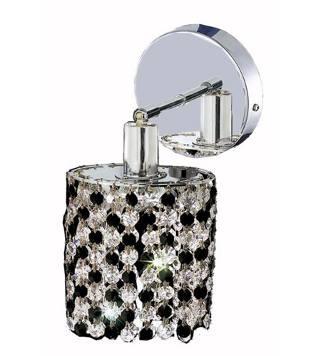 Elegant Lighting Mini 1 Light Wall Sconce in Chrome with Royal Cut Jet (Black) Crystals 1381W-R-R-JT/RC photo