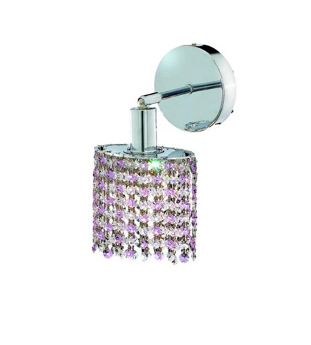Elegant Lighting Mini 1 Light Wall Sconce in Chrome with Royal Cut Rosaline (Pink) Crystals 1381W-R-R-RO/RC photo