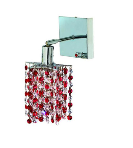 Elegant Lighting Mini 1 Light Wall Sconce in Chrome with Royal Cut Bordeaux (Red) Crystals 1381W-S-P-BO/RC photo