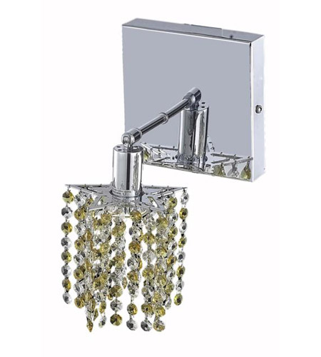 Elegant Lighting Mini 1 Light Wall Sconce in Chrome with Royal Cut Lt. Topaz (Yellow) Crystals 1381W-S-P-LT/RC photo
