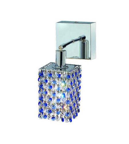 Elegant Lighting 1381W-S-S-SA/RC Mini 1 Light 5 inch Chrome Wall Sconce Wall Light in Sapphire, Royal Cut, Square photo