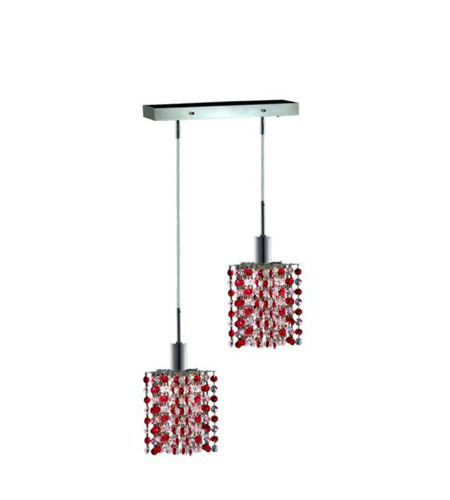 Elegant Lighting 1382D-O-P-BO/RC Mini 2 Light 5 inch Chrome Pendant Ceiling Light in Bordeaux, Royal Cut, Rectangle, Star photo
