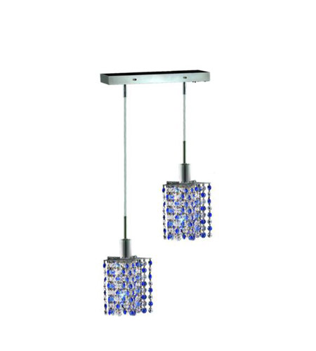 Elegant Lighting Mini 2 Light Pendant in Chrome with Royal Cut Sapphire (Blue) Crystals 1382D-O-P-SA/RC photo