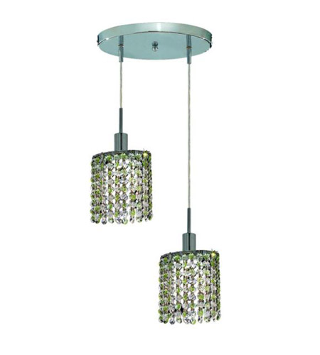 Elegant Lighting Mini 2 Light Pendant in Chrome with Royal Cut Lt. Peridot (Light Green) Crystals 1382D-R-E-LP/RC photo