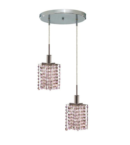 Elegant Lighting Mini 2 Light Pendant in Chrome with Royal Cut Rosaline (Pink) Crystals 1382D-R-P-RO/RC photo