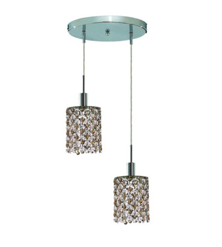 Elegant Lighting Mini 2 Light Pendant in Chrome with Royal Cut Golden Teak (Smoky) Crystals 1382D-R-R-GT/RC photo