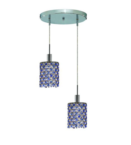Elegant Lighting Mini 2 Light Pendant in Chrome with Royal Cut Sapphire (Blue) Crystals 1382D-R-R-SA/RC photo
